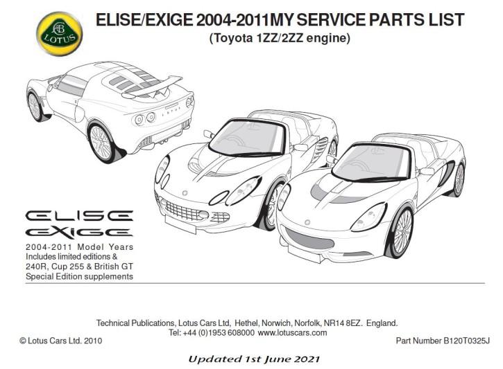 Service Parts List Exige MK2 Toyota
