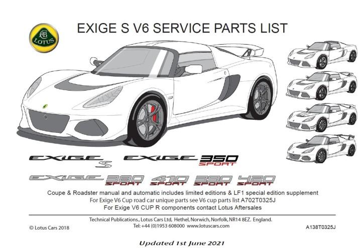 Service Parts List Exige S 350-380-390-410-420 Sport