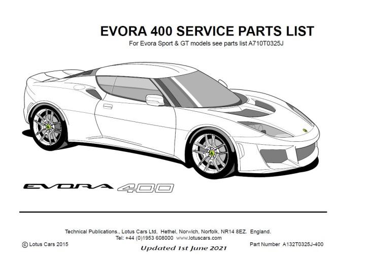 Service Parts List Evora 400
