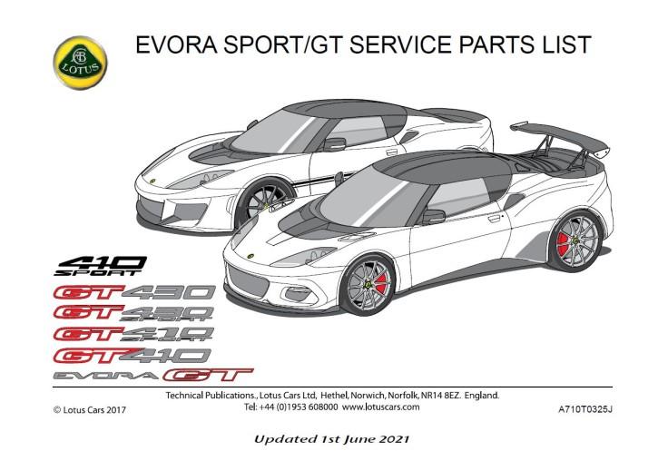 Service Parts List Evora 410, GT....
