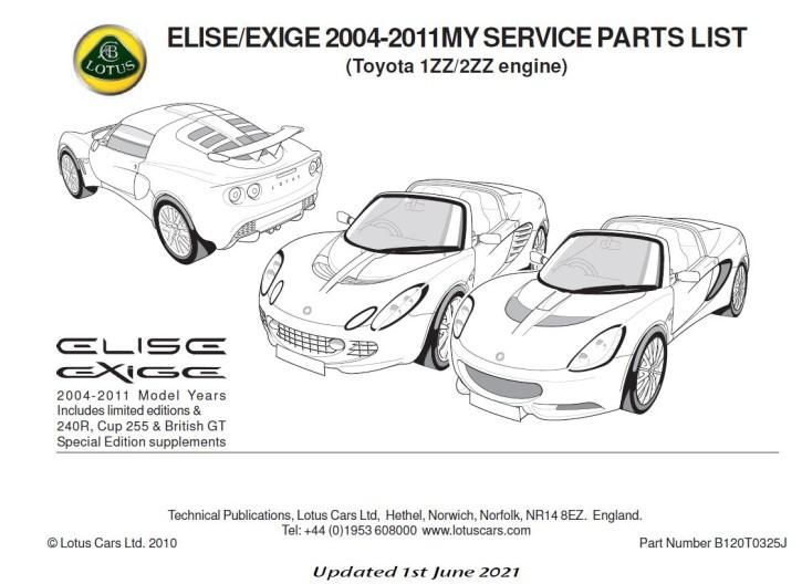 Service Parts List Elise Toyota 1ZZ/2ZZ  bis 2011