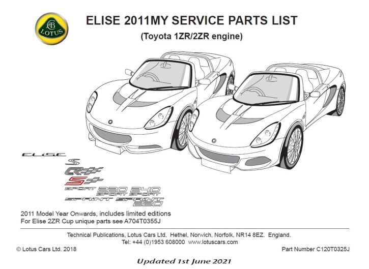 Service Parts List Elise Toyota 1ZR/2ZR 2011 aufwärts