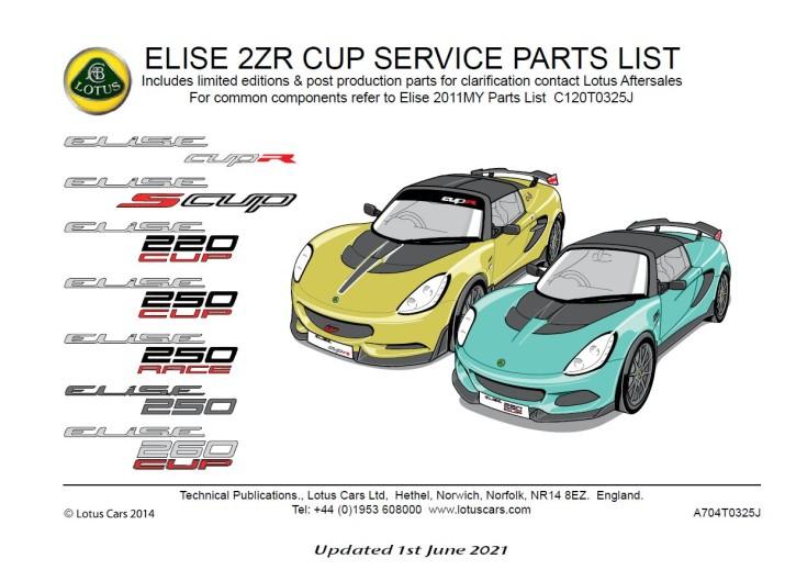 Service Parts List Elise Toyota CUP & RACE