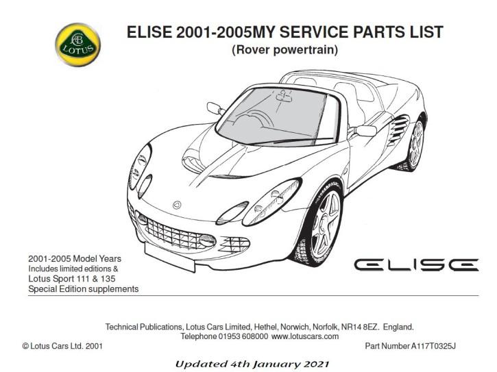 Service Parts List Elise MK2 Rover